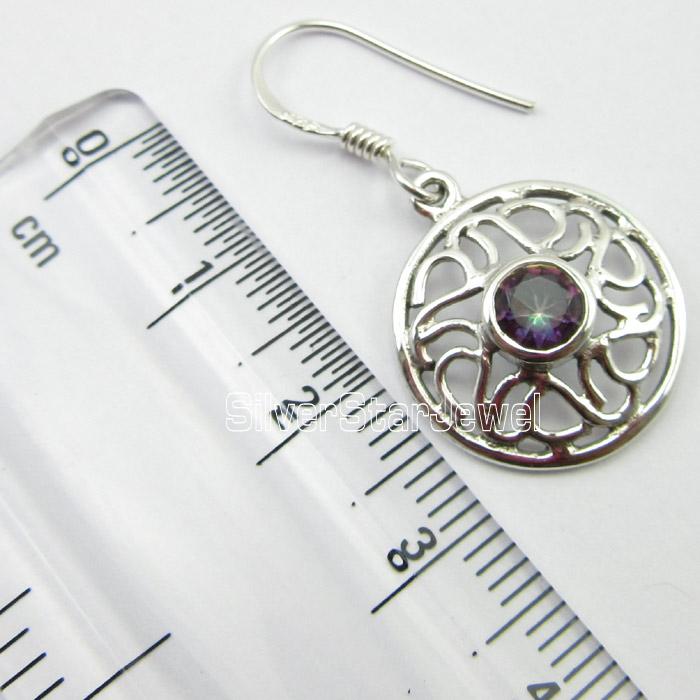"925 PURE Silver Beautiful Rainbow MYSTIC TOPAZ Gemstone Jewelry Earrings 1.3/"""