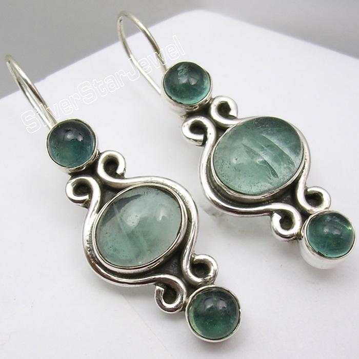 """Cabochon Labradorite Dangle Earrings 1.4/"""" 925 Pure Sterling Silver Women Art"""