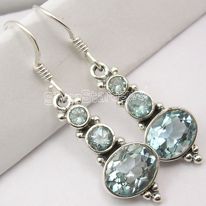 """Handcrafted Jewelry 925 Sterling Silver BLUE TOPAZ Marquise Shape Earrings 0.9/"""""""