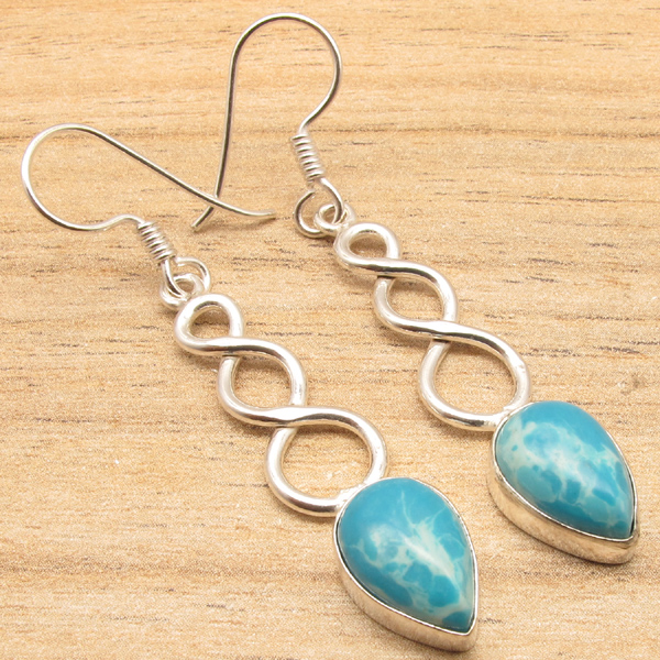 925-Silver-Plated-Real-LABRADORITE-Earrings-Multiple-Gemstones-Fashion-Jewelry