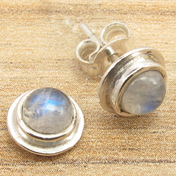 925-Silver-Plated-MOONSTONE-amp-Other-Gems-Variation-STUDS-POST-Earrings-GEMSET