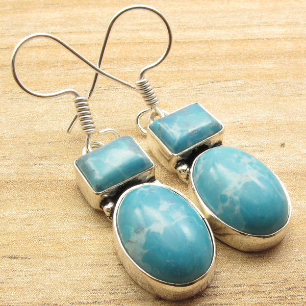 925-Silver-Plated-Gemstone-ART-GIFT-Earrings-Pretty-Handmade-Jewelry