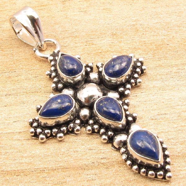 925-Silver-Plated-CROSS-Pendant-LAPIS-LAZULI-WHITE-PEARL-amp-Other-Gems-Choice thumbnail 2