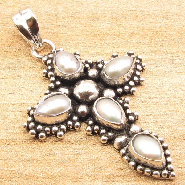 925-Silver-Plated-CROSS-Pendant-LAPIS-LAZULI-WHITE-PEARL-amp-Other-Gems-Choice thumbnail 3