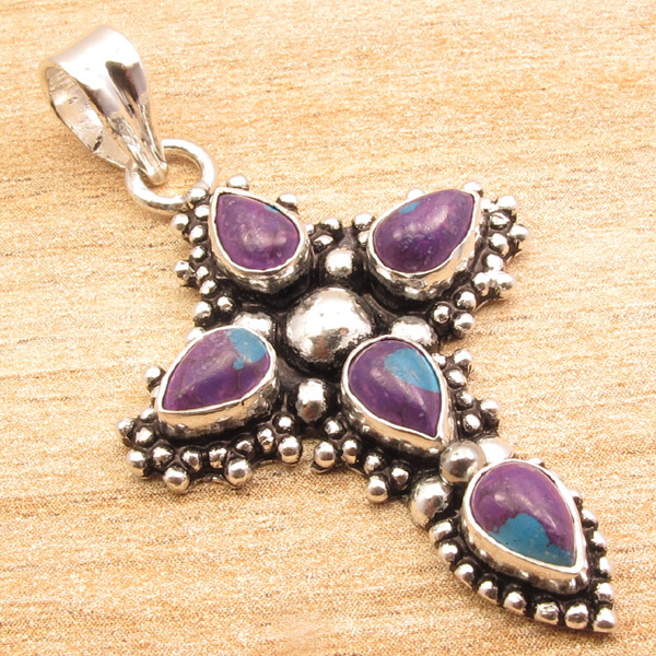 925-Silver-Plated-CROSS-Pendant-LAPIS-LAZULI-WHITE-PEARL-amp-Other-Gems-Choice thumbnail 4