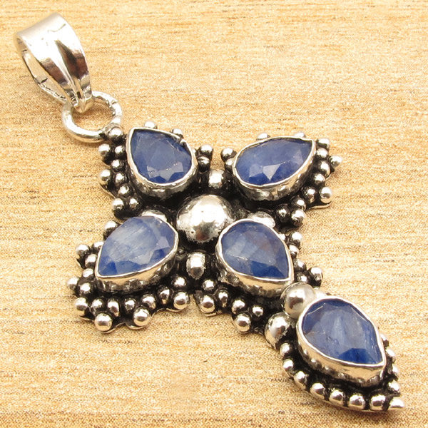 925-Silver-Plated-CROSS-Pendant-LAPIS-LAZULI-WHITE-PEARL-amp-Other-Gems-Choice thumbnail 25