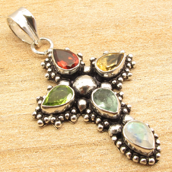 925-Silver-Plated-CROSS-Pendant-LAPIS-LAZULI-WHITE-PEARL-amp-Other-Gems-Choice thumbnail 7