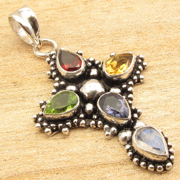 925-Silver-Plated-CROSS-Pendant-LAPIS-LAZULI-WHITE-PEARL-amp-Other-Gems-Choice thumbnail 8