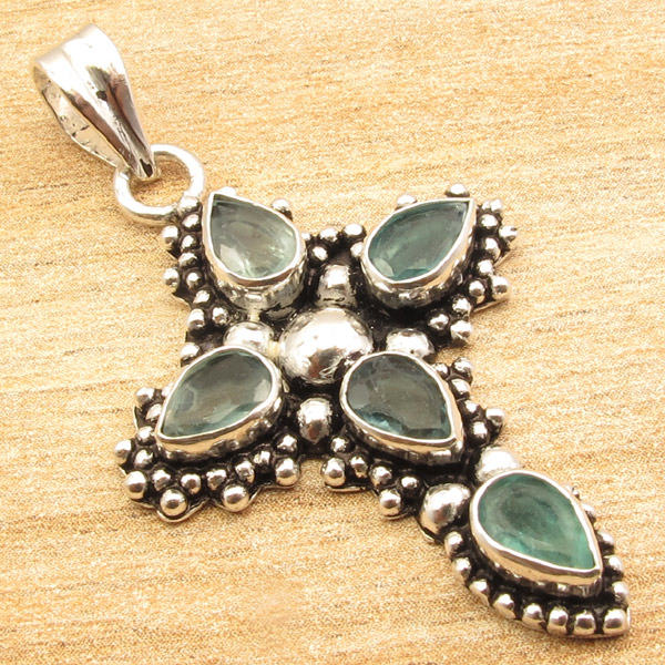 925-Silver-Plated-CROSS-Pendant-LAPIS-LAZULI-WHITE-PEARL-amp-Other-Gems-Choice thumbnail 13