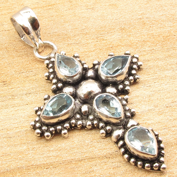 925-Silver-Plated-CROSS-Pendant-LAPIS-LAZULI-WHITE-PEARL-amp-Other-Gems-Choice thumbnail 14
