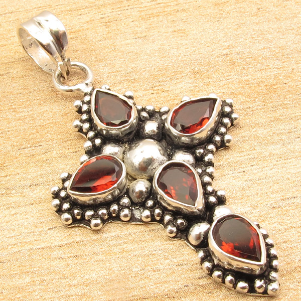 925-Silver-Plated-CROSS-Pendant-LAPIS-LAZULI-WHITE-PEARL-amp-Other-Gems-Choice thumbnail 16