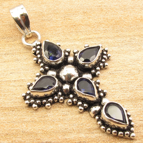 925-Silver-Plated-CROSS-Pendant-LAPIS-LAZULI-WHITE-PEARL-amp-Other-Gems-Choice thumbnail 17