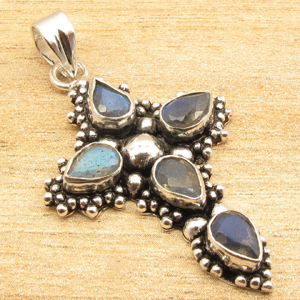 925-Silver-Plated-CROSS-Pendant-LAPIS-LAZULI-WHITE-PEARL-amp-Other-Gems-Choice thumbnail 18