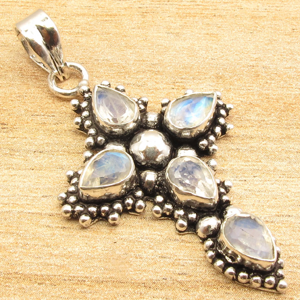 925-Silver-Plated-CROSS-Pendant-LAPIS-LAZULI-WHITE-PEARL-amp-Other-Gems-Choice thumbnail 20