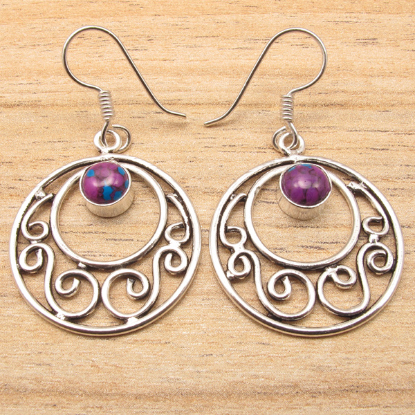 indian jewelry supply purple copper turquoise ethnic earrings 925 silver plated 9100
