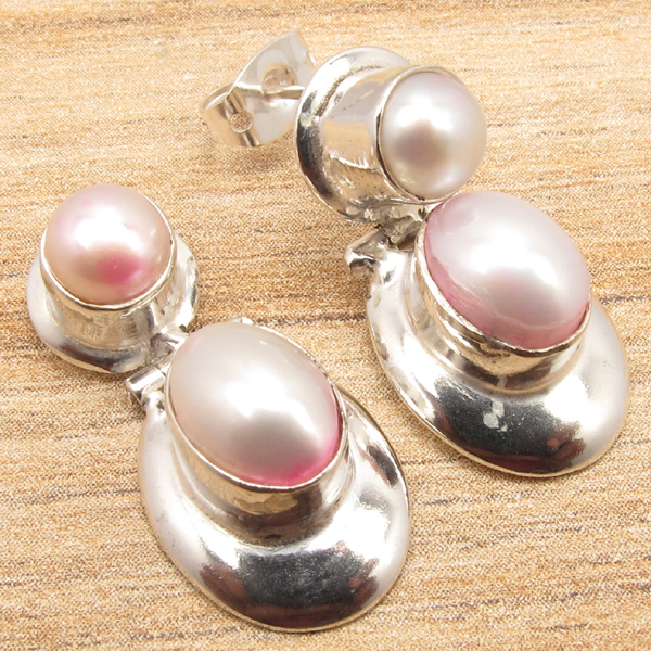 Earrings 925 silver plated sea pearl stud earrings jewelry handmade